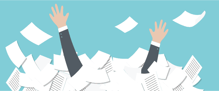 Man submerged from paperwork