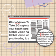 Text inspection on globalvision on cartoon background