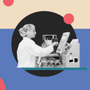 Researcher working with machine on a cartoon background