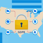 US map with GDPR lock