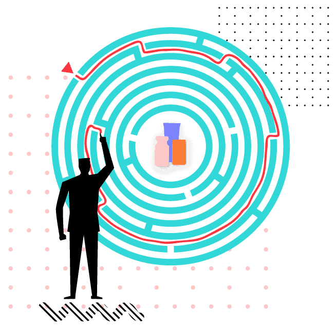 Illustration of a man solving a circle puzzle