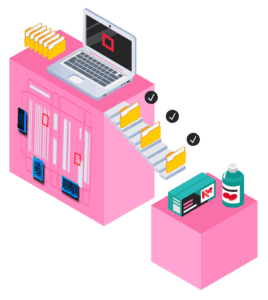 illustration showing laptop with process of folders