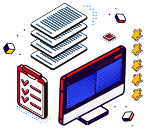 Illustration including a monitor, documents, checklists and reviews.